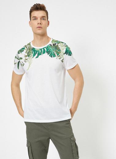 Koton Desenli T-Shirt Beyaz